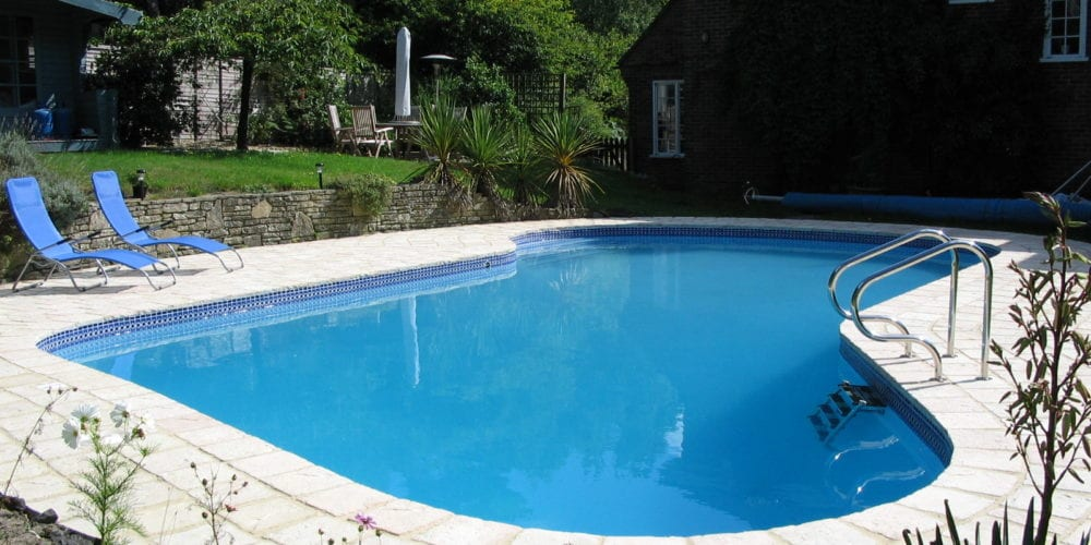New rounded swimming pool with tiling