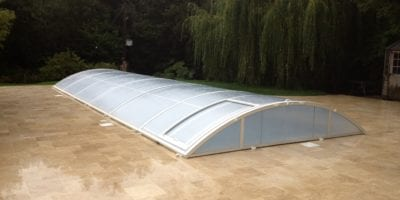 Swimming pool enclosure on new outdoor installation