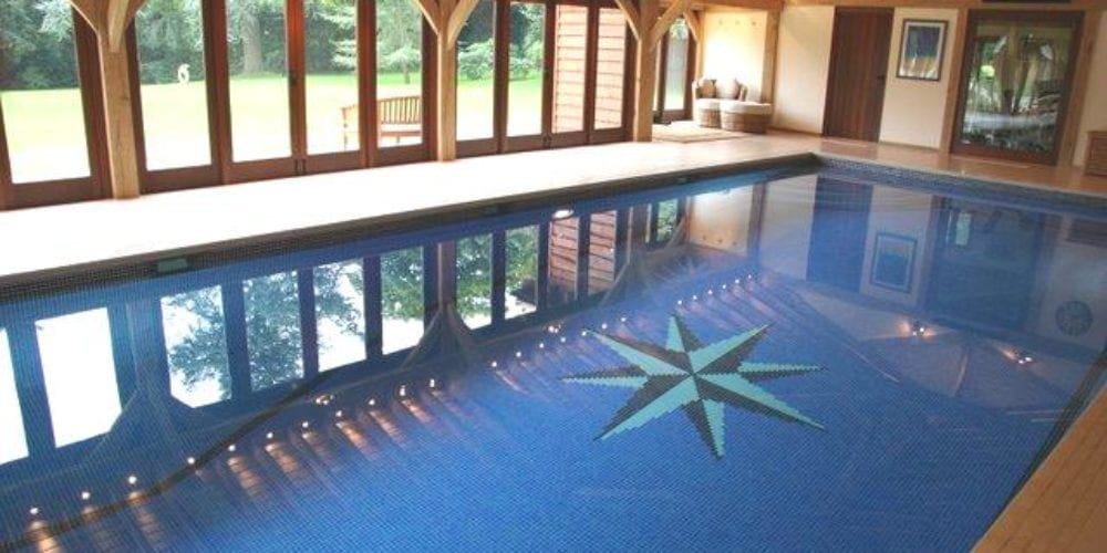 Indoor swimming pool with mosaic design star