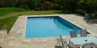 New swimming pool installation and mosaic tile