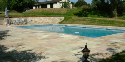 New swimming pool with mosaic tile design
